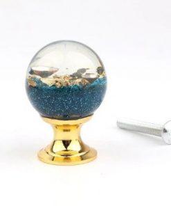 Úchytka na dvierka v tvare živicovej gule s modrými kamienkami a kryštálmi, 25 mm