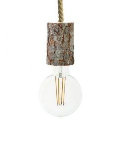 Závesné drevené svietidlo s objímkou z prírodnej drevenej kôry, 11cm,
