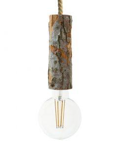 Závesné drevené svietidlo s objímkou z prírodnej drevenej kôry, 22cm.