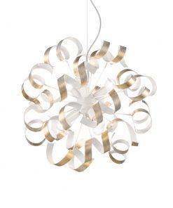 Kreatívny luster VORTEX SP6 s ozdobnými kovovými prvkami v zlatej farbe | Ideal Lux
