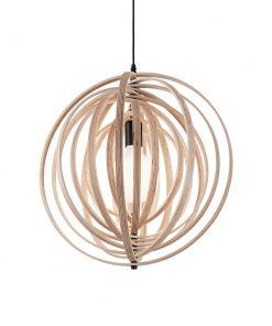 Kruhový závesný luster DISCO SP1 v prírodnom dreve | Ideal Lux