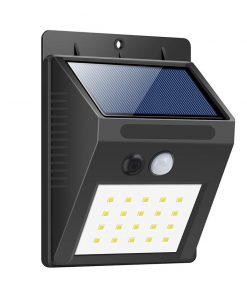 LED solárne svietidlo na stenu v čiernej farbe, 2W, IP65, 200lm