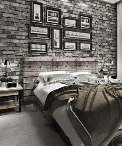 Moderná tapeta s textúrou tehlovej steny v sivej farbe
