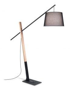 Podlahová lampa s dreveným stojanom EMINENT PT1 NERO | Ideal Lux