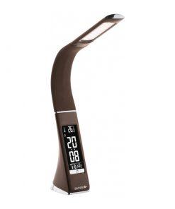 Stolová LED lampa s displejom v hnedej farbe (kalendár, dátum, čas, teplota, budík), 6W, 350lm | Avide