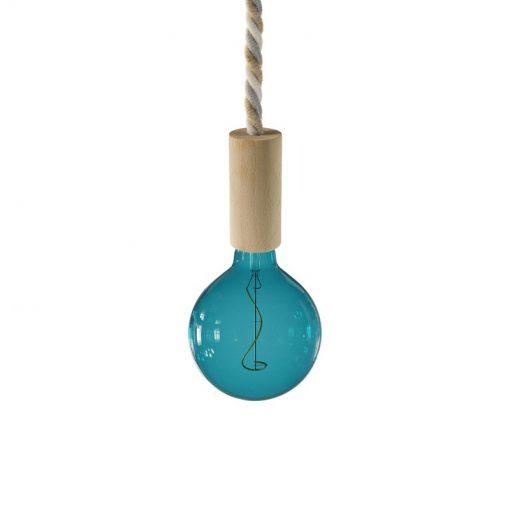 Drevené závesné svietidlo so 16mm káblom, ľan a bavlna