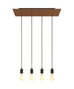 4-svetelné závesné svietidlo so 675 mm obdĺžnikovou rozetou SATIN COPPER / BLACK