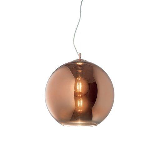 Moderný luster so sférickým difúzorom v medenej farbe NEMO SP1 D30 | Ideal Lux