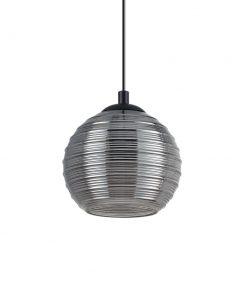 Svietidlo z fúkaného skla s reliéfnymi líniami v dymovej farbe RIGA SP1 SMALL | Ideal Lux