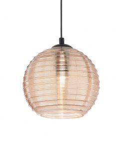 Svietidlo z fúkaného skla s reliéfnymi líniami v zlatej farbe RIGA SP1 BIG | Ideal Lux