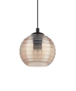 Svietidlo z fúkaného skla s reliéfnymi líniami v zlatej farbe RIGA SP1 SMALL | Ideal Lux