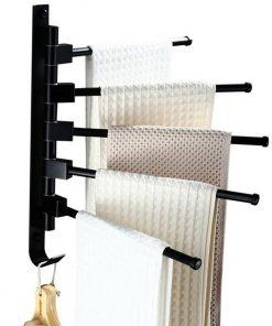 Čierny otočný vešiak na uteráky so 4 ramenami a spodným háčikom