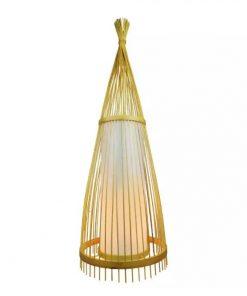 Drevené podlahové svietidlo z ratanu 150cm