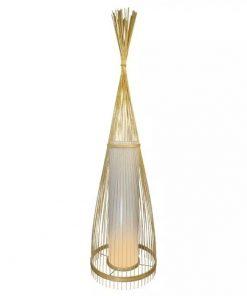 Drevené podlahové svietidlo z ratanu 94cm