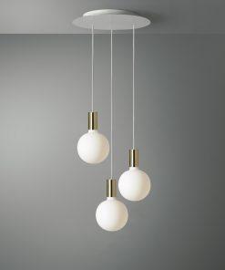 3-svetelné závesné svietidlo ROMA s porcelanovými žiarovkami G155