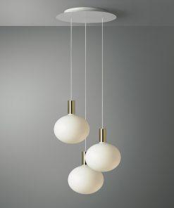 3-svetelné závesné svietidlo ROMA s porcelanovými žiarovkami XL DELO