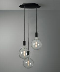 3-svetelné závesné svietidlo ROMA v čiernej farbe s mliečnymi sklenenými žiarovkami XXL G200