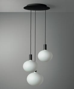 3-svetelné závesné svietidlo ROMA v čiernej farbe s porcelánovými žiarovkami XL DELO