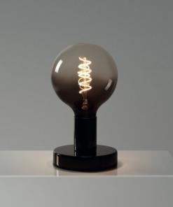 Čierna kovová stolná lampa so žiarovkou BLACK-TRANSPARENT SPHERE | Daylight Italia