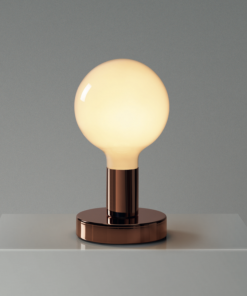Medená kovová stolná lampa s mliečnou žiarovkou G125 | Daylight Italia