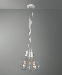 Závesné svietidlo PISA s tromi päticami v bielej farbe so žiarovkami XXL A165