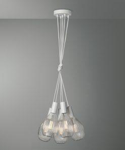Závesné svietidlo VENEZIA s piatimi päticami v bielej farbe s kryštálovými žiarovkami EOS