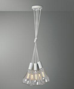 Závesné svietidlo VENEZIA s piatimi päticami v bielej farbe s kryštálovými žiarovkami IRIS