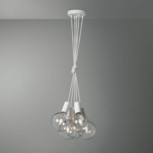 Závesné svietidlo VENEZIA s piatimi päticami v bielej farbe so žiarovkami G125 BEAUTY