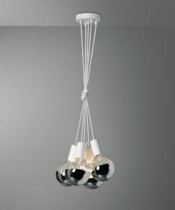 Závesné svietidlo VENEZIA s piatimi päticami v bielej farbe so zrkadlovými žiarovkami G125 CHROME