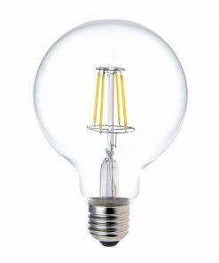 Priehľadná LED žiarovka - G95, 4W, E27, 470lm, Teplá biela | Daylight Italia