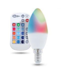 LED žiarovka E14 s diaľkovým ovládaním RGB, 5W, Teplá biela.