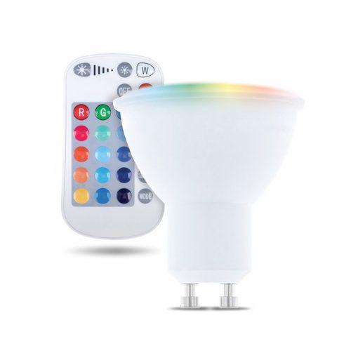 LED žiarovka GU10 s diaľkovým ovládaním RGB, 5W, Teplá biela