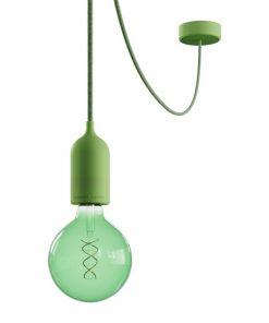 Vonkajšie závesné svietidlo v zelenom prevedení, IP65, zelený 5metrový kábel