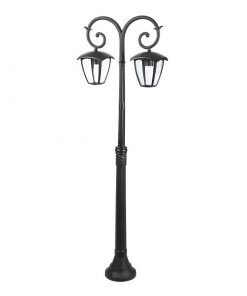 Záhradné stĺpové svietidlo OLD DOUBLE v čiernej farbe.